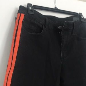 Asos Design Cut off Black with Orange stripe jeans